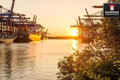 Sonnenuntergang Containerhafen Waltershof
