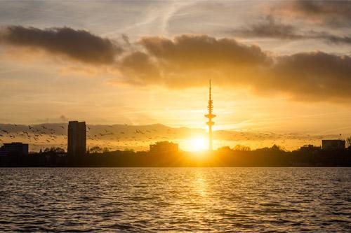 Sonnenuntergang an der Außenalster