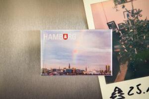 Kühlschrankmagnet Hamburg Regenbogen Landungsbrücken