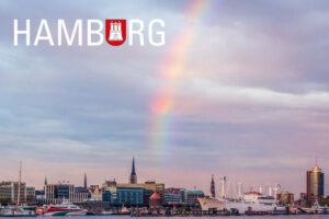 Kühlschrankmagnet Hamburg Regenbogen