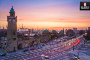 Hamburg Landungsbrücken Sonnenuntergang