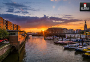 Binnenhafen Hamburg Sonnenuntergang