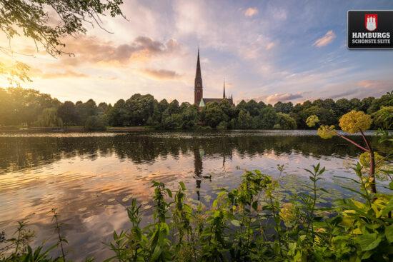 Kuhmühlenteich Hamburg zum Sonnenuntergang