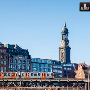 Hamburg Michel und U3 auf Holz