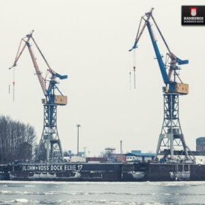 Hamburg Hafenkräne Dock 17 auf Holz