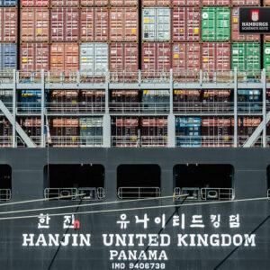 Hamburg Containerschiff auf Holz