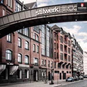 Hamburg Stilwerk Brücke auf Holz