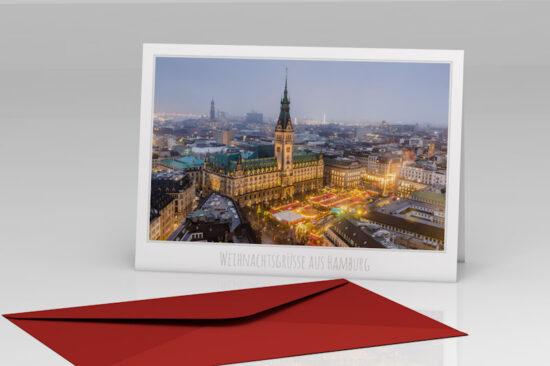 Hamburg Weihnachtskarte Rathausmarkt